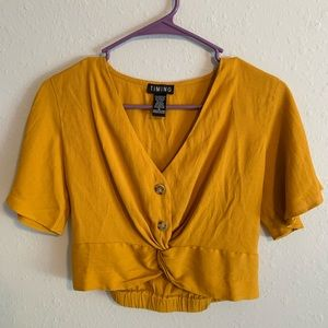 Tops - Yellow Crop Shirt w Buttons